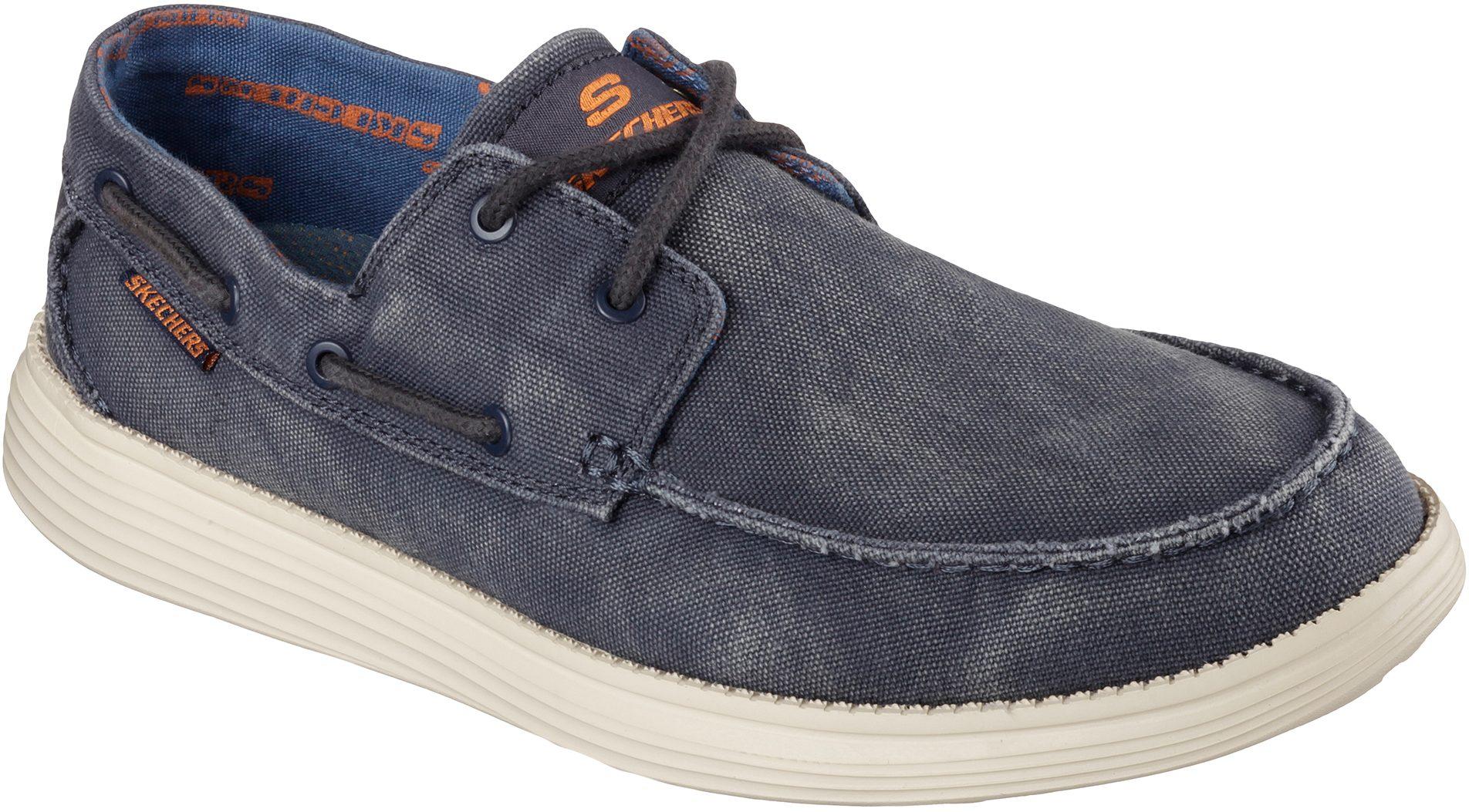 e653eaec5fae Skechers Status - Melec Navy 64644 NVY - Boat Shoes - Humphries Shoes