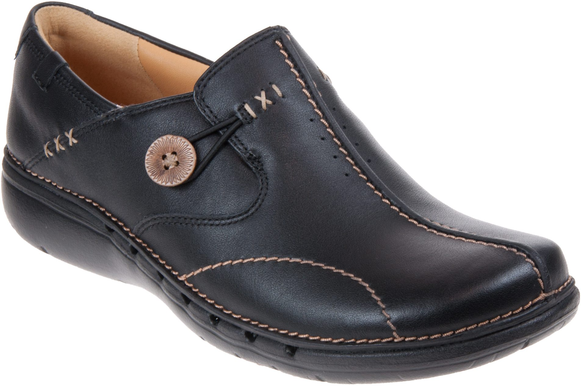 e266f5edc97a Clarks Un Loop Black Leather 20312837 - Everyday Shoes - Humphries Shoes