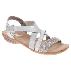 b008eb934 Rieker. Talya. Ladies Grey and metallic combination sandals ...