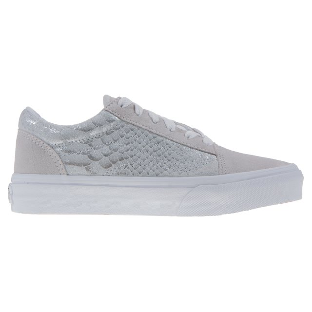 2379cdc9a1 Vans Kids Old Skool Metallic Snake Silver   White VN0A38HBOFA ...