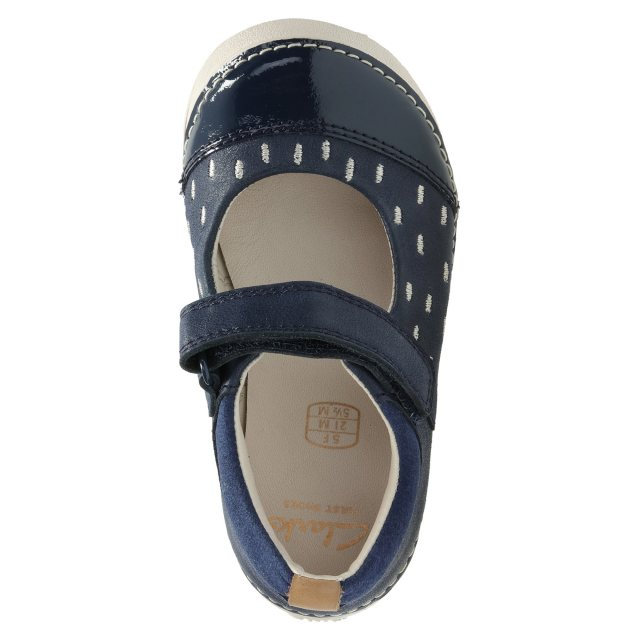 e9f00d2f7a2aad Clarks Softly Lou First Navy Leather 26127404 - First Walkers ...