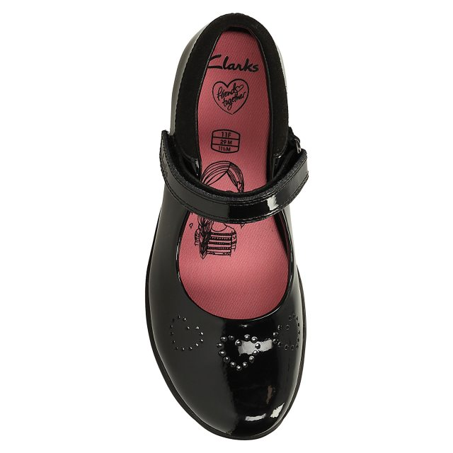 961ee0abb Clarks Friend Fizz Infant Black Patent 26123569 - Girls School Shoes ...