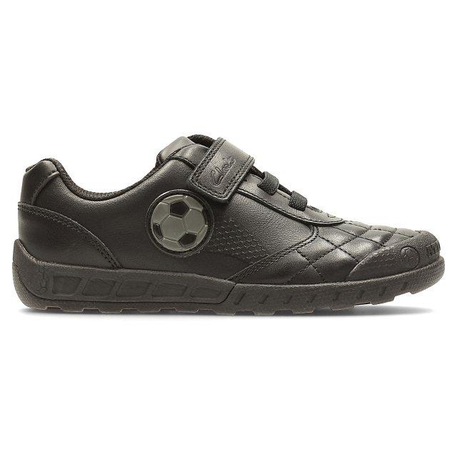 3cdf81582aab Clarks Leader Game Infant Black Leather 26122974 - Boys School Shoes ...