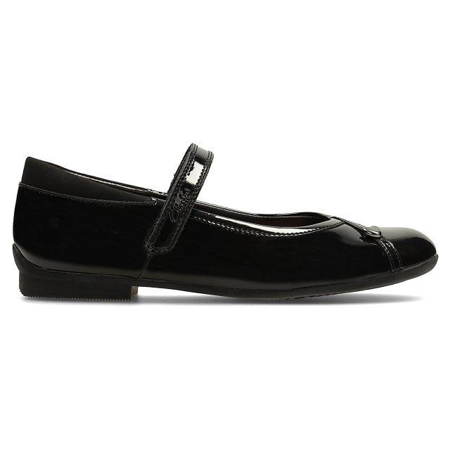 2979dfb7065 Clarks Movello Lo Junior Black Patent 26113959 - Girls School Shoes ...