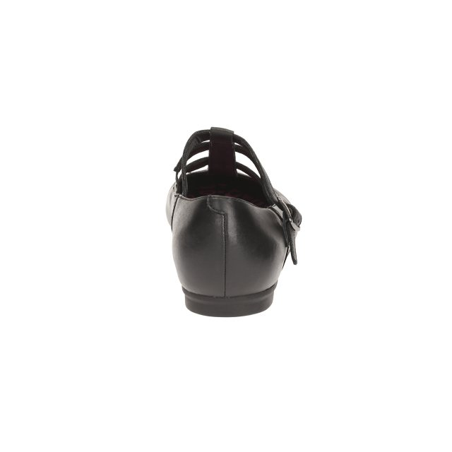 Clarks Girls Black Leather School Shoes QuartzFlash BL