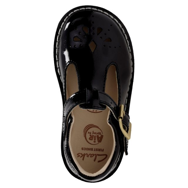 931659c22c0 Clarks Yarn Weave First Black Patent Leather 26132107 - Girls Shoes ...