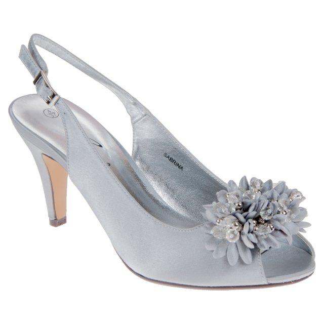 11431588fbdd Lunar Sabrina Silver Grey Satin FLR081 - Evening Sandals - Humphries ...