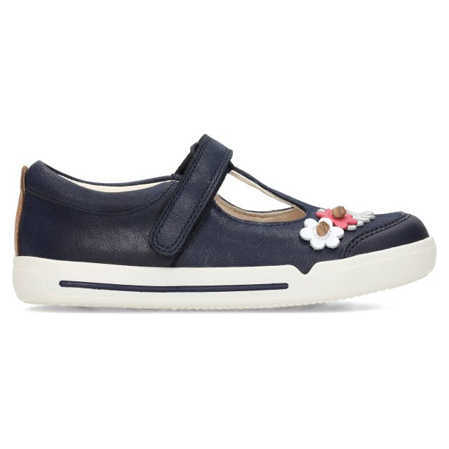 Clarks Mini Blossom Blue Leather Girls T Bar Shoes