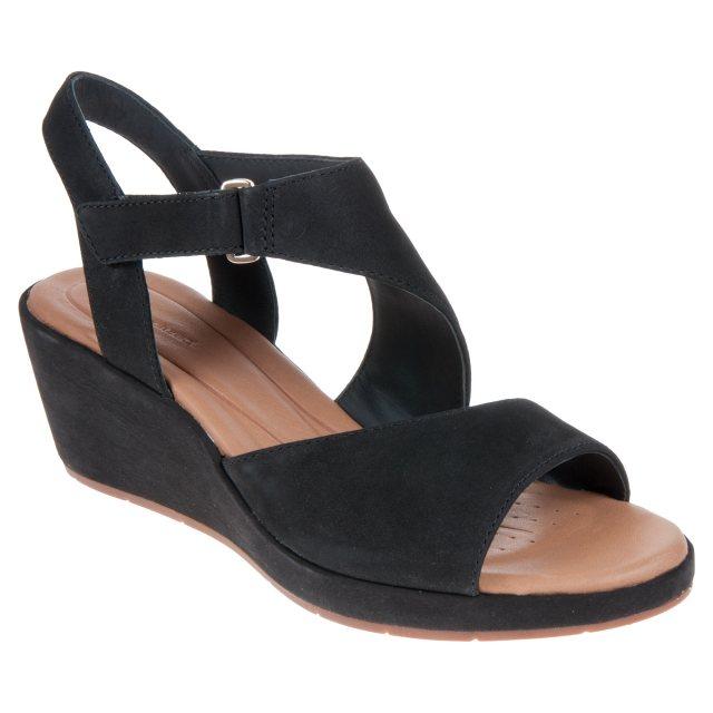 67c9f9cdc6a Clarks Un Plaza Sling Black Nubuck 26132314 - Full Sandals ...