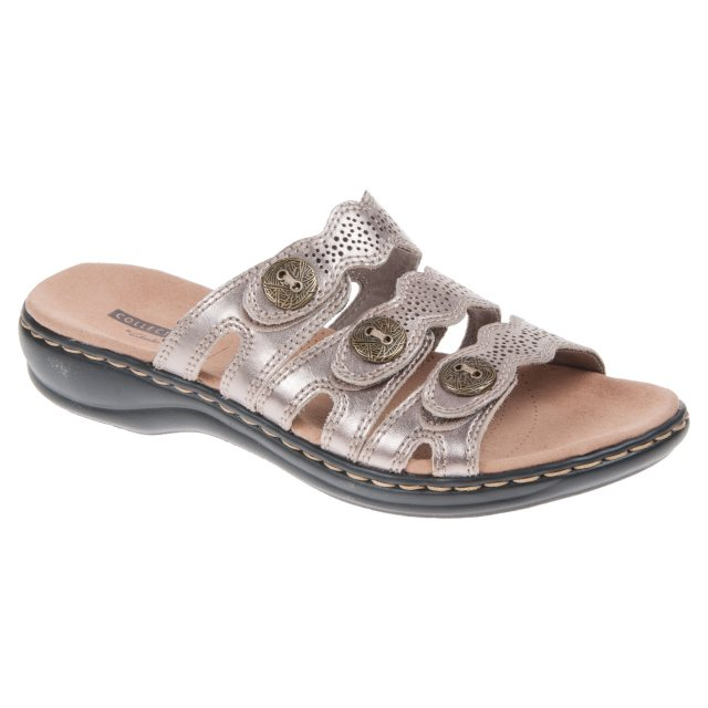 7ce443f09643 Clarks Leisa Grace Pewter Metallic 26134112 - Mule Sandals ...