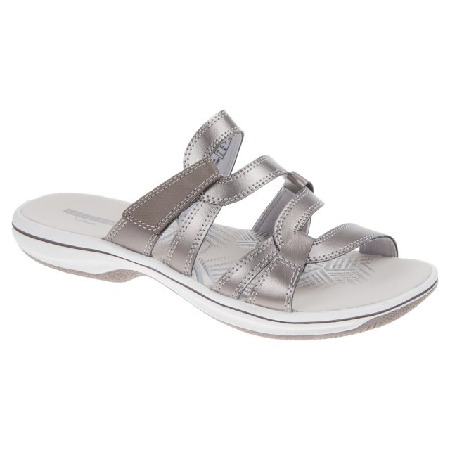 54c4df3a0c4 Clarks Brinkley Lonna Pewter Synthetic 26129393 - Mule Sandals ...