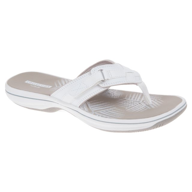 405f4b51c734 Clarks Brinkley Sea White Synthetic 26129301 - Toe Post Sandals ...
