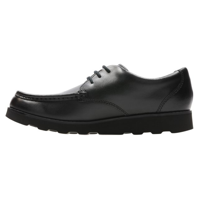 Clark Boy Crown Tate Black Leather Lace Up School Shoes Uk 1 G