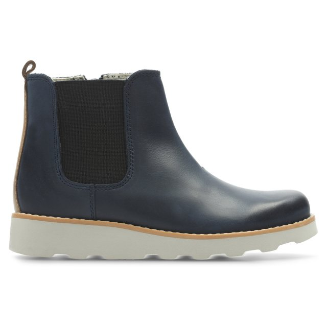 62c54580f2e14 Clarks Crown Halo Navy Leather 26135946 - Girls Boots - Humphries Shoes