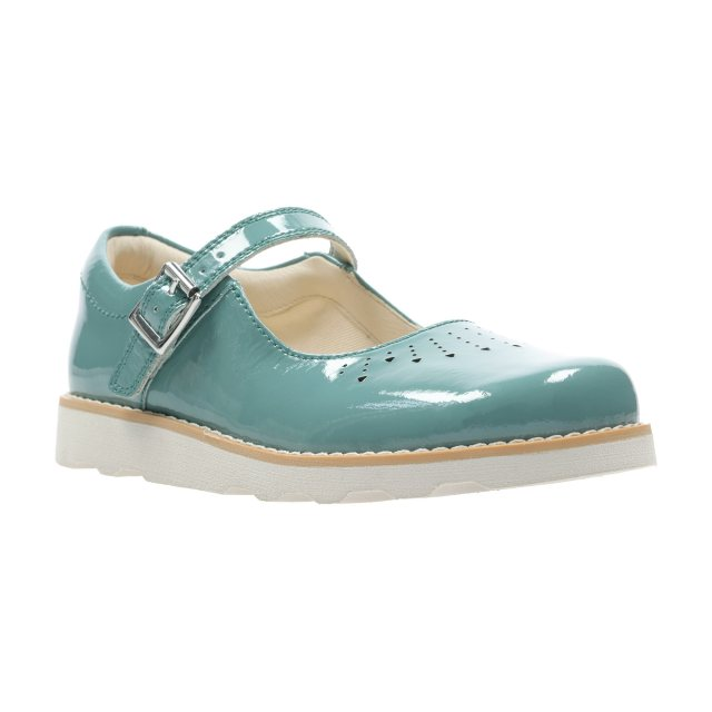 a789d3f23215 Clarks Crown Jump Kids Teal Leather 26141115 - Girls Shoes ...