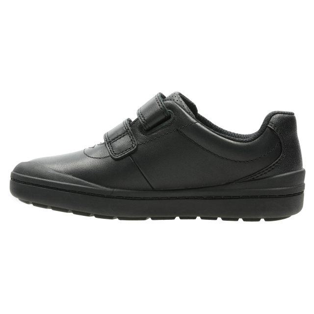 Details about  /Boys Clarks Rock Play Black Leather School Shoes
