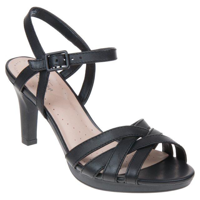 d7ab5ffd3f2 Clarks Adriel Wavy Black Leather 26133575 - Evening Sandals ...