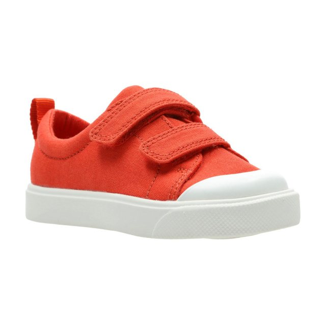 Clarks City Bright Toddler Textile Canvas in Orange Standard Fit Size 4