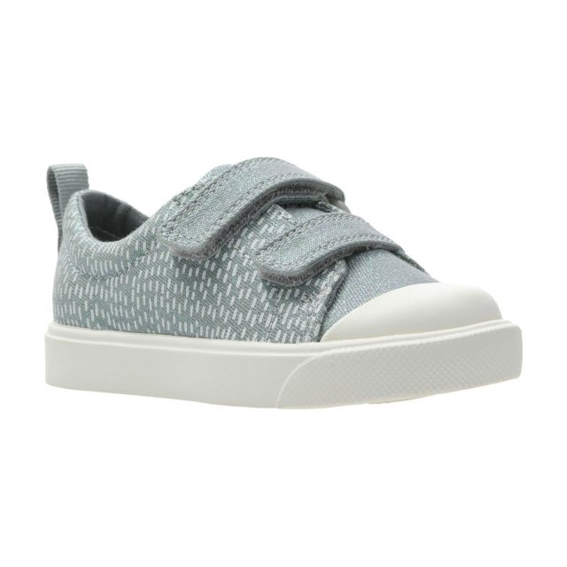 fcf99a3fb518 Clarks City Flare Lo Toddler Silver Metallic 26143152 - Girls Canvas ...