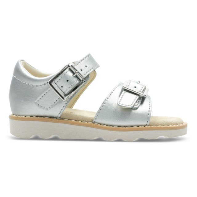 f91a56ce5a3 Clarks Crown Bloom Toddler Silver Leather 26142476 - Girls Sandals ...