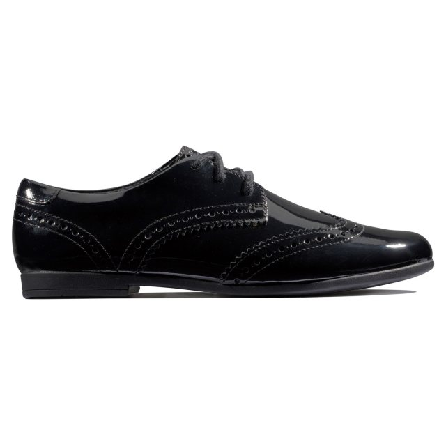 Clarks Scala Lace Youth Black Patent Leather Girls Lace Up Brogue School Shoes