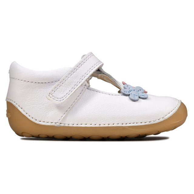 GIRLS CLARKS LEATHER PRE WALKERS TINY SUN T